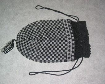 antique black jet & crystal tiny seed bead woven and crocheted drawstring Purse evening wear bag tassel