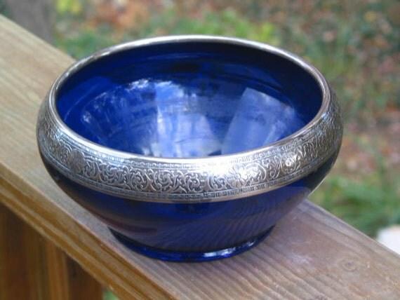 Items Similar To Morgantown Glass Cobalt Ritz Blue Bowl