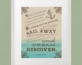 Mark Twain 11x14  Literature Quote poster art print children's room decor inspirational adventure quote nautical sailing ocean anchor decor