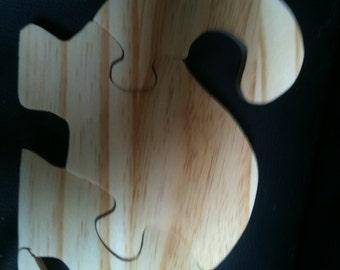 Wooden brontosaurus 3 piece jigsaw puzzle