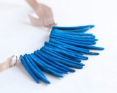 Necklace Blue Coconut beads and beige Ribbon - eco friendly jewelry