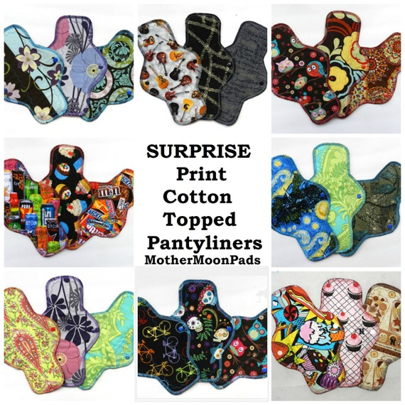 Reusable Cloth Pantyliners - Surprise Print Cotton Woven Cloth Pad Set by MotherMoonPads