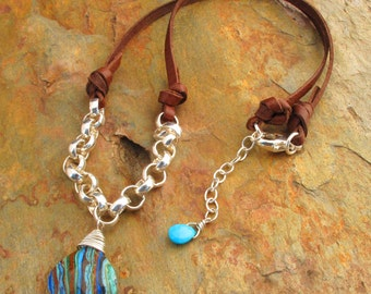 Rainbow Calcite Sterling Silver Leather Necklace -Southwest