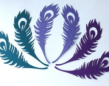 Custom listing for Sherill Peacock Feather die cut embellishments in any color set of 15  great for place settings