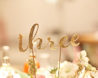 Glitter Table numbers 1-10 in glittered card stock