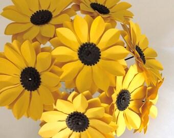 Paper flowers black eyed susans daisy set of 12 stems
