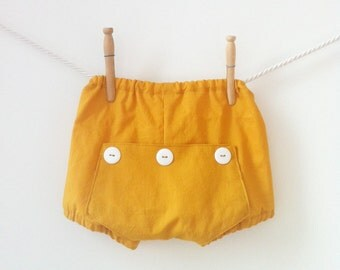 Retro Mustard Yellow Bloomers, Baby Boy Bloomers, Mustard Bloomers, Baby Photography Diaper Cover, Baby Diaper Cover, Baby Girl Bloomers