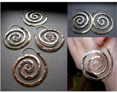 Lg Nautical Spiral Swirl Hoop Earrings in Copper, Bronze or Sterling Silver E025-L