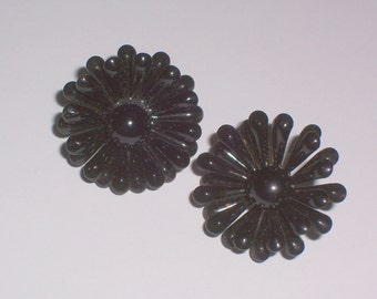Vintage Black Flower Earrings - Clip Ons