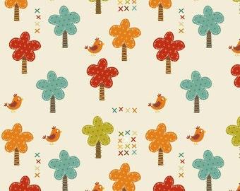 Giraffe Crossing Trees in Cream by RBD Designers for Riley Blake - 1 Yard