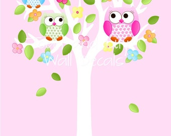 Fabric WALL DECALS Owls Love Flowers Tree Girls Nature Forest Bedroom Playroom Baby Nursery Kids Wall Art Decals