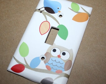 Treetop Owl Forest Woodland  Boys Bedroom Baby Nursery Single Light Switch Cover LS0062