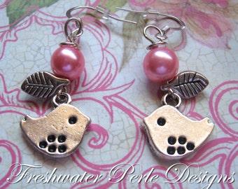Little Bird With Pearl Earrings, Pink
