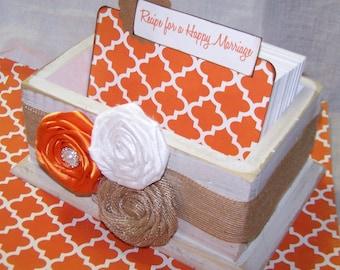 GUEST Book Box, Advice Box, Orange Wedding, Distressed White Box, Rustic Burlap Bridal Shower