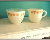Vintage Gold Butterfly Pyrex Cream and Sugar Set Flawless Cottage Chic Kitchen