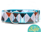 "SALE!!! Martingale Collars in various sizes - ""Winter Argyle"" - Greyhound Collars"