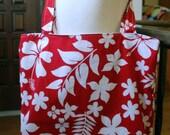 tote bag - grocery bag - reusable bag - hawaiian flower
