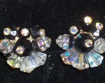 Vintage Black Clear AB Aurora Borealis Trumpet Clip on Earrings
