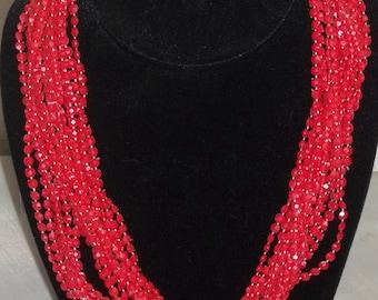 Vintage Red Multi-Strand Plastic Twist Necklace Hong Kong