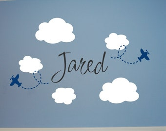 Personalized Name with Clouds & Planes Wall Decal - Cloud Wall Decal - Plane Wall Decal - Name with Airplane Wall Decal-Nursery Wall Decal
