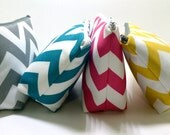 Makeup Bag, Cosmetic Case, Bridal Party Discount on 4 or more, Bridesmaid Gift, Make Up Case in your choice of Chevron Fabric