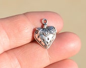 10 Silver Strawberry Charms SC3372