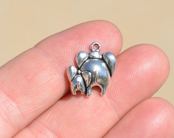 BULK 50 Silver  Mother and Baby Elephant Charms SC3547