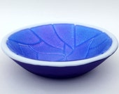 Fused Glass Bowl in Iridescent Blue, White and Cobalt Blue
