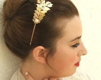 20% off, Leaf Crown, Gold Leaf Headband ,Wedding Bridal Headpiece, Wedding Hair Accessories , Brides Headpieces, Wedding Headband