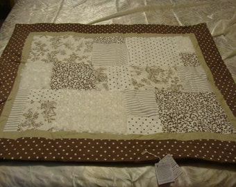 Textured Baby Blanket~~~ Brown and White
