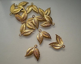 12 tiny brass double leaf charms No. 1
