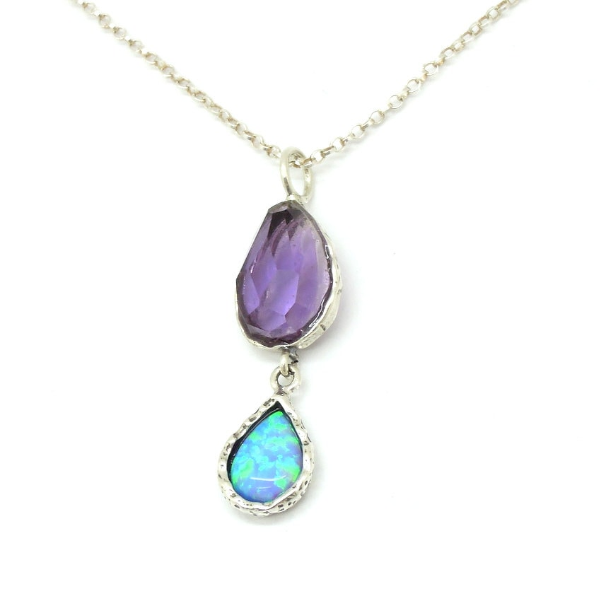 silver pendant with amethyst opal drop shaped