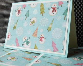 Holiday Card Set : 4 Hand-Stamped Greeting Cards with Matching Embellished Envelopes - Cute Snowscape
