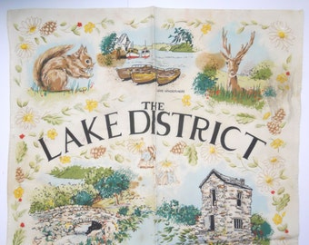 THE LAKES ENGLAND tea-towel, souvenir trinket, The Lake District, The Lakes of England, Britain, darling illustrations, country cottage