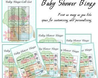 Baby Shower Printable Game Blue Baby Bingo