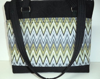 Handbag - Purse - Large with Pockets - Zipper Closure - Black with Modern Print