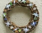 Sea Glass Wreath with Lighted Sea Glass Dragonflies, Sea Glass Grapevine Wreath