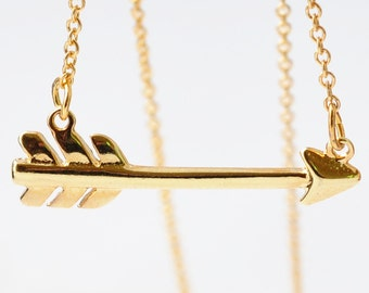 Horizontal Arrow Necklace: Yellow Gold Filled, Friendship Gifts
