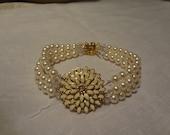 Wedding Pearl cuff bracelet,bridal bracelet, wedding accessories, flower cuff, sunflower bracelet