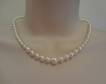 Wedding Jewelry Bridal Graduated pearl necklace rhinestone wedding jewelry, bm pearl necklace, PN045