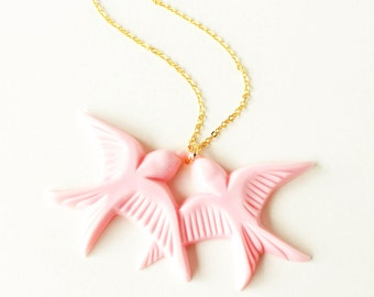Blush pink resin swallow love birds gold necklace