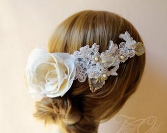 Bridal crown, wedding headpiece, champage wedding headpiece, lace bridal crown, demi crown, wedding crown, wedding rose and lace crown, veil