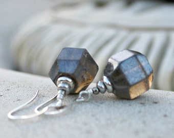 Metallic Grey Taupe Drop Earrings - Geometric, Czech Glass, Silver, Modern, Gift for Her