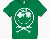 Size 2 - Kids Clearance - Ride and Be Happy - Bike and Smiley Shirt american apparel