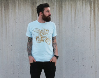Men's Goldfish on a Bicycle Tee - Fish on a Bike Shirt - American Apparel