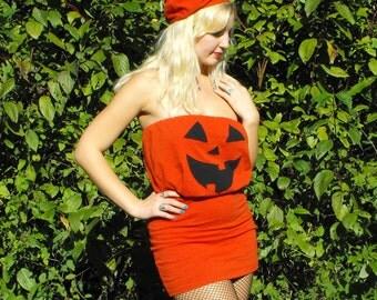 Pumpkin Halloween Costume // Jack O Lantern Womens Adult Halloween Costume