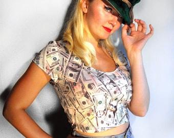Money Print Shirt Crop Tee