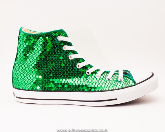 Green Sequin Converse Shoes