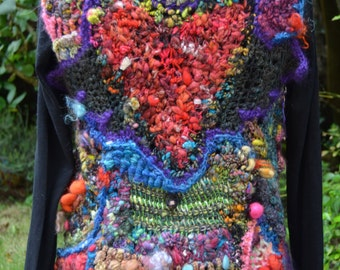 "Vest in freeform crochet created with only handspun art yarns "" My heart """