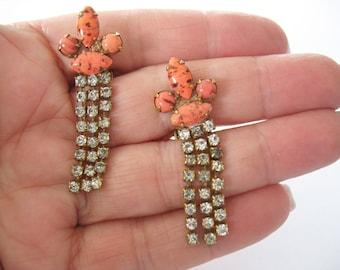 Glass & Rhinestone Earrings, Dangle, Drop Earrings, Coral, Speckled, 1950s, Sparkling Rhinestones